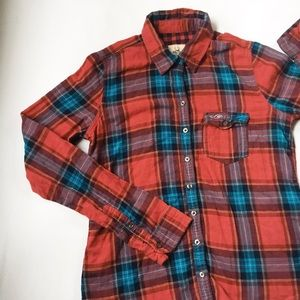 hollister plaid flannel button down shirt large